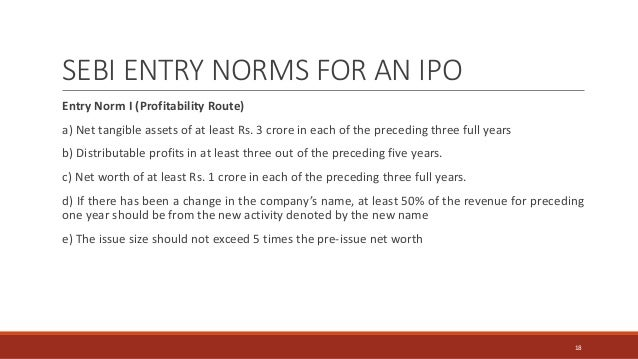 SEBI ENTRY NORMS FOR AN IPO Entry Norm I (Profitability Route) a) Net tangible assets of at least Rs. 3 crore in each of t...
