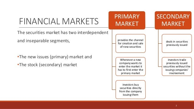 FINANCIAL MARKETS The securities market has two interdependent and inseparable segments, •The new issues (primary) market ...