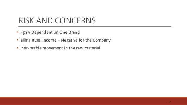 •Highly Dependent on One Brand •Falling Rural Income – Negative for the Company •Unfavorable movement in the raw material ...