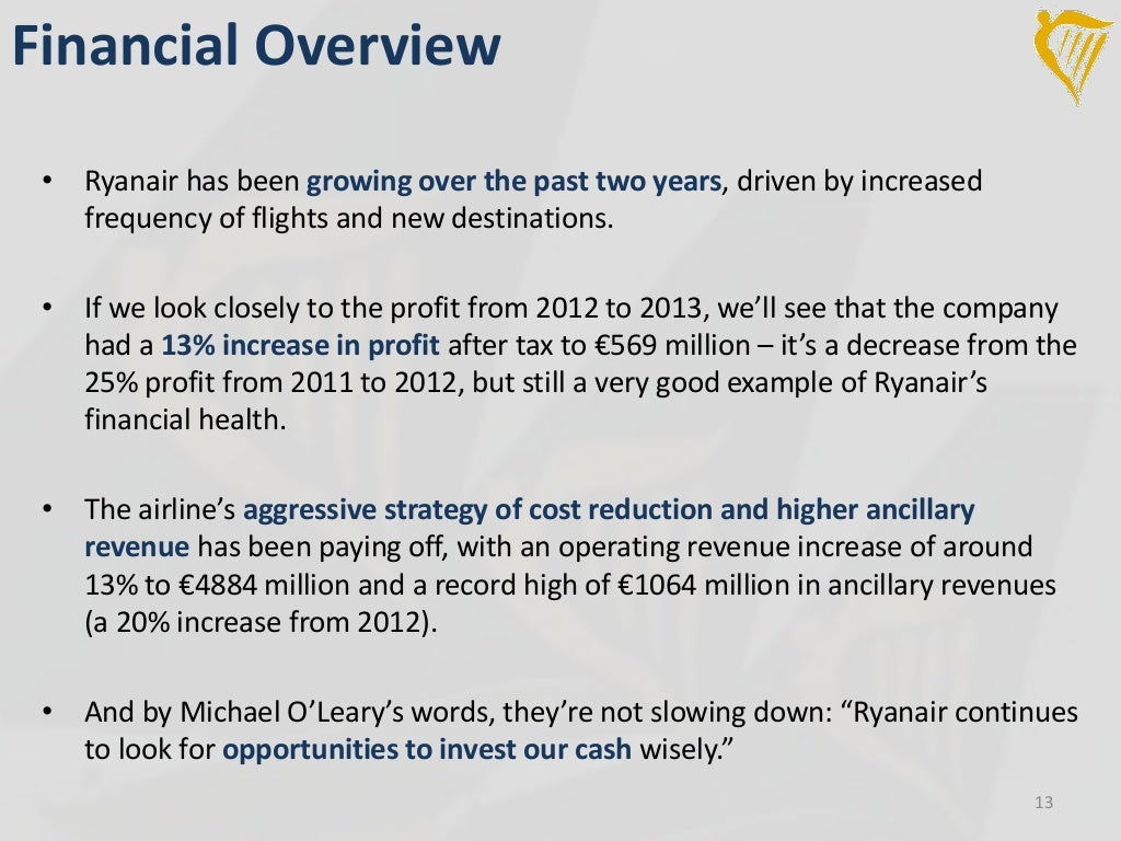 ryanair holdings case study 14 Free with your subscription search all refine search subject finance & accounting (1) managing organizations (1) ryanair holdings plc finance & accounting case study mark t bradshaw 895.