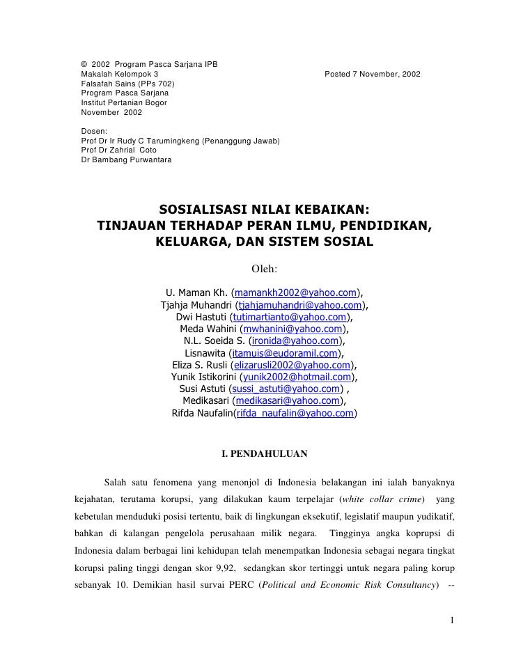 © 2002 Program Pasca Sarjana IPB Makalah Kelompok 3                                           Posted 7 November, 2002 Fals...