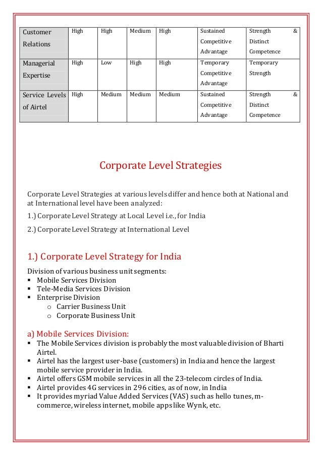 business level strategic analysis