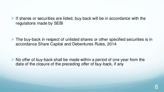 buy back of shares A share repurchase agreement is contract between a corporation and one or more of its shareholders where the corporation can buy back some of its own common stock.
