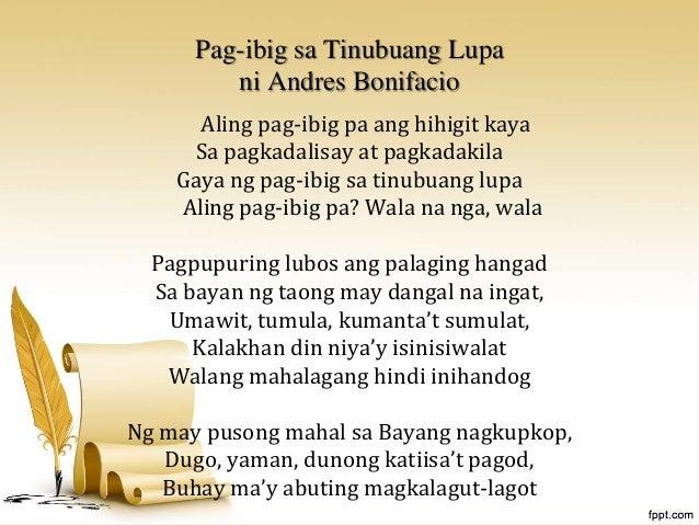 """pagibig sa tinubuang lupa Ipinadala sa dyaryong tagalog """"ang pag-ibig sa tinubuang lupa"""" si ferdinand blumentritt, isang banyaga at nagsilbing kuya ni rizal, ."""