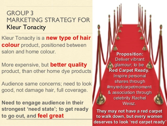GROUP 3 MARKETING STRATEGY FOR Kleur Tonacity Kleur Tonacity is a new type of hair colour product, positioned between salo...