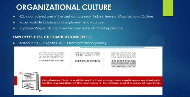 ORGANIZATIONAL CULTURE  HCL is considered one of the best companies in India in terms of Organizational Culture  Proper ...