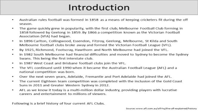 Group 3 Wiki, Australian Rules Presentation, Swinburne