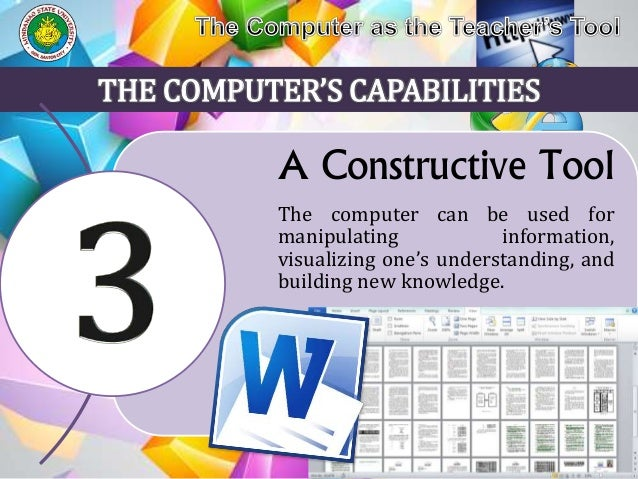 computer as teacher Without the computer, today's learners may still be assuming the tedious task of low-level information gathering, building and new knew knowledge packaging but this is not so, since the modern computer can help teacher-and-students to focus on more high level cognitive tasks.