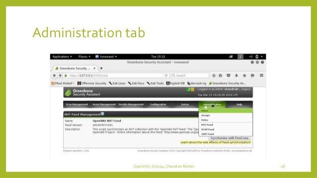 Administration tab OpenVAS_Group4_Chandrak-Melbin 18