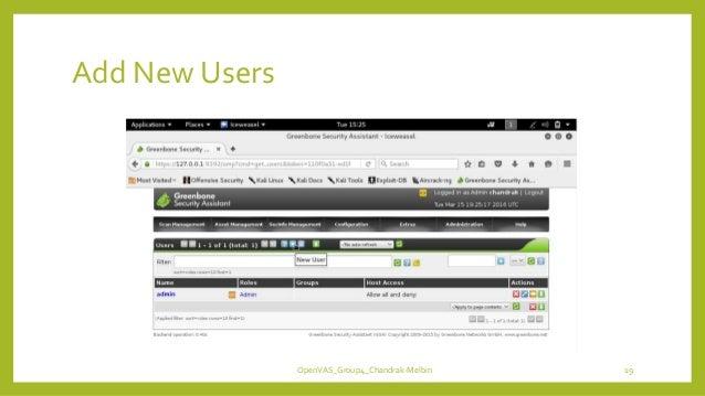 Add New Users OpenVAS_Group4_Chandrak-Melbin 19