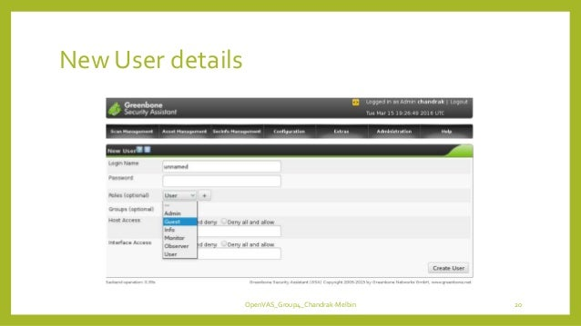 New User details OpenVAS_Group4_Chandrak-Melbin 20