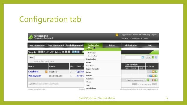 Configuration tab OpenVAS_Group4_Chandrak-Melbin 23