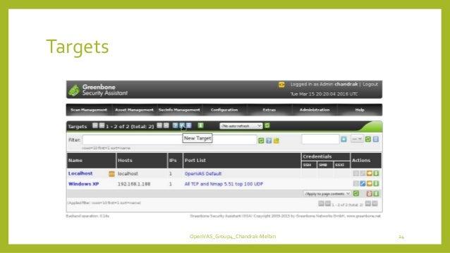 Targets OpenVAS_Group4_Chandrak-Melbin 24