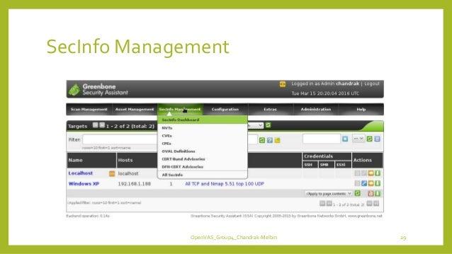 SecInfo Management OpenVAS_Group4_Chandrak-Melbin 29