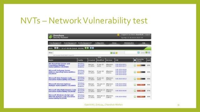 NVTs – NetworkVulnerability test OpenVAS_Group4_Chandrak-Melbin 31