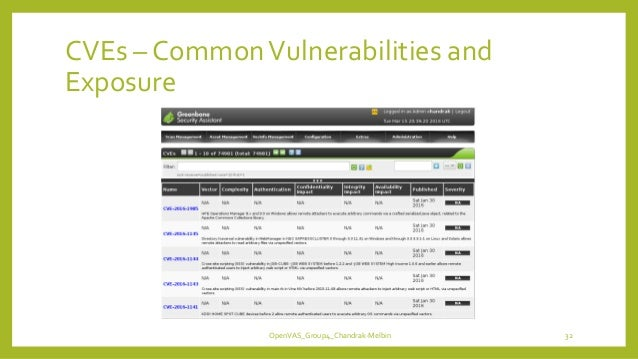 CVEs – CommonVulnerabilities and Exposure OpenVAS_Group4_Chandrak-Melbin 32