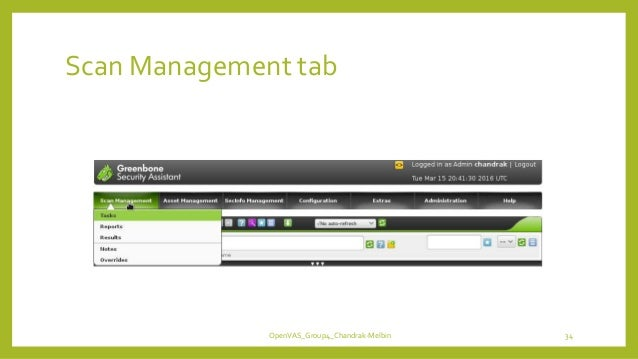 Scan Management tab OpenVAS_Group4_Chandrak-Melbin 34
