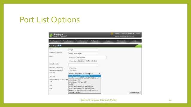 Port List Options OpenVAS_Group4_Chandrak-Melbin 40