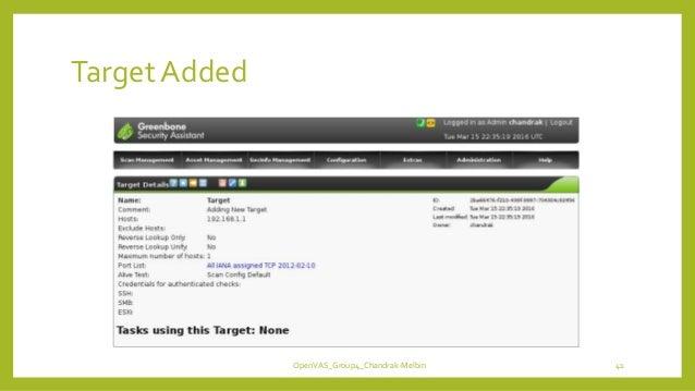 TargetAdded OpenVAS_Group4_Chandrak-Melbin 41