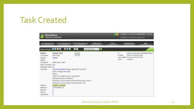 Task Created OpenVAS_Group4_Chandrak-Melbin 44