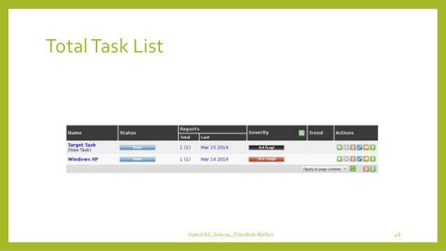 TotalTask List OpenVAS_Group4_Chandrak-Melbin 46