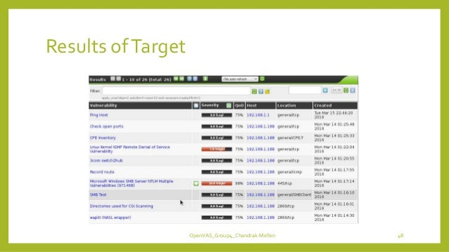Results ofTarget OpenVAS_Group4_Chandrak-Melbin 48