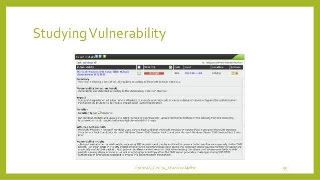 StudyingVulnerability OpenVAS_Group4_Chandrak-Melbin 50