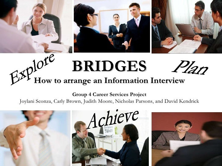 BRIDGES How to arrange an Information Interview Group 4 Career Services Project Joylani Sconza, Carly Brown, Judith Moore,...