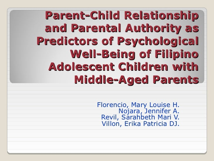 Parent-Child Relationship and Parental Authority asPredictors of Psychological     Well-Being of Filipino  Adolescent Chil...