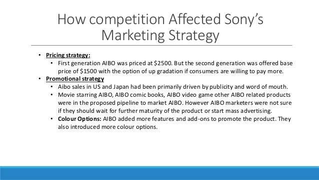 pricing strategies of sony Price is a vital component of a marketing mix, also known as the four ps of marketing the other components are product, place and promotion, all of which constitute costs.