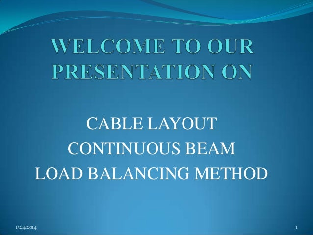 CABLE LAYOUT CONTINUOUS BEAM LOAD BALANCING METHOD 1/24/2014  1