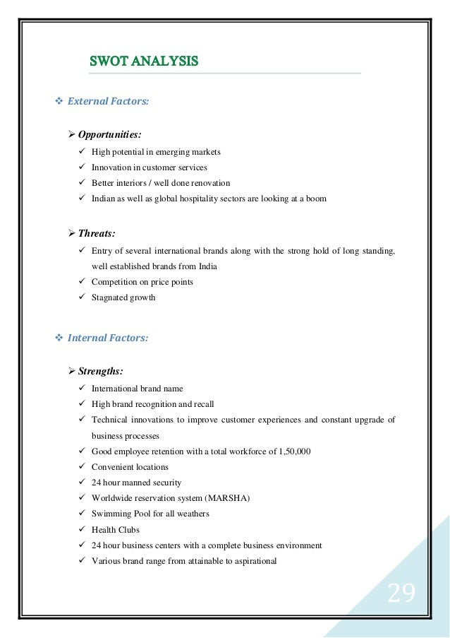 Swot analysis of hyatt hotel