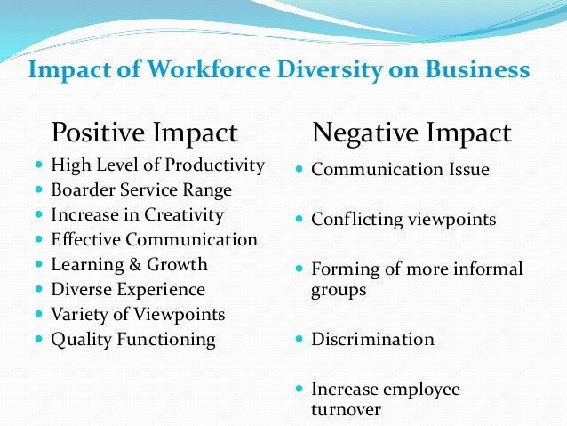 effect of workforce diversity on employee Group 6 the effects of workforce diversity towards the employee performance in an organization by eugene chew weiliang lee kah mun tan siew chern.