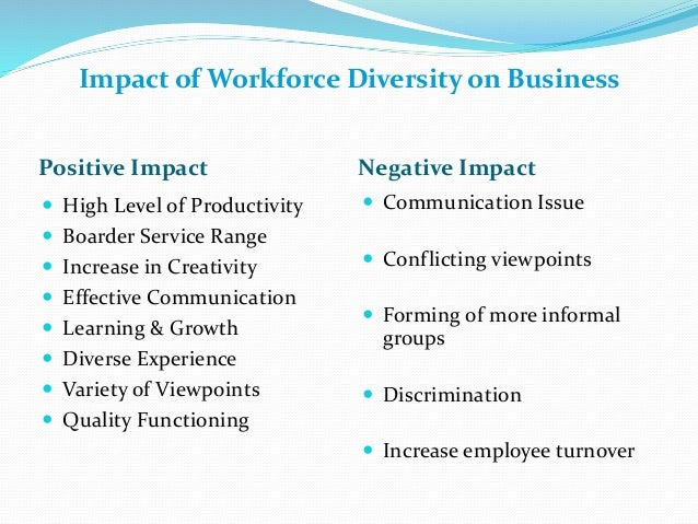 impact of technology and workforce diversity Technology's impact on workers by kristen purcell and lee rainie summary of findings the internet and cell phones have infiltrated every cranny of american workplaces, and digital technology has transformed vast numbers of american jobs.