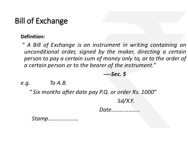 negotiable instruments only valid in India – Bill of Exchange Sample