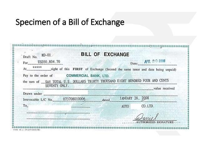 16. Specimen Of A Bill Of Exchange ... Intended Bill Of Exchange Sample