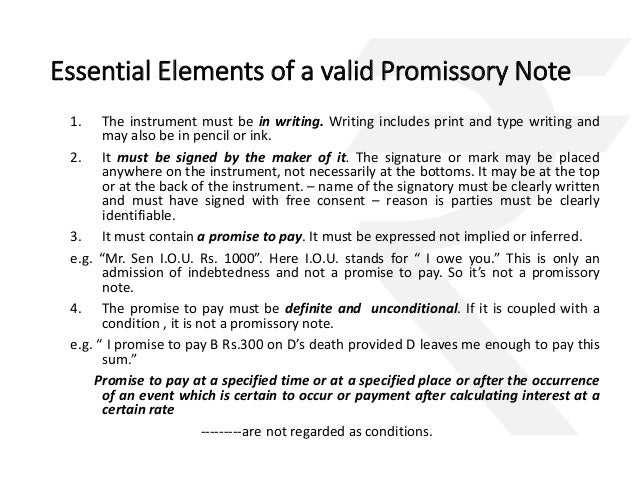 negotiable instruments only valid in India – Promissory Note Format India