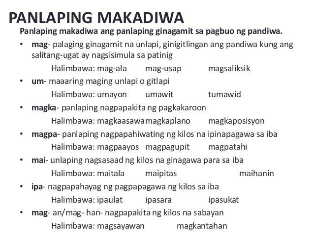 thesis ng panlaping makadiwa Ito ay binubuo ng salitang ugat at ng panlapi pawatas - tawag sa pandiwang binubuo ng salitang-ugat at panlaping makadiwa 0 comments leave a reply erika zoe's.