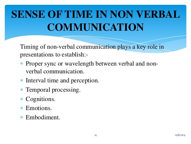 discuss the role non verbal communication Non-verbal communication is not only crucial in a plain daily communication situation but also for the interpreter non-verbal communication can take various forms, each of which illustrates or replaces a certain part of the verbal communication it includes many more elements than one might think at first.