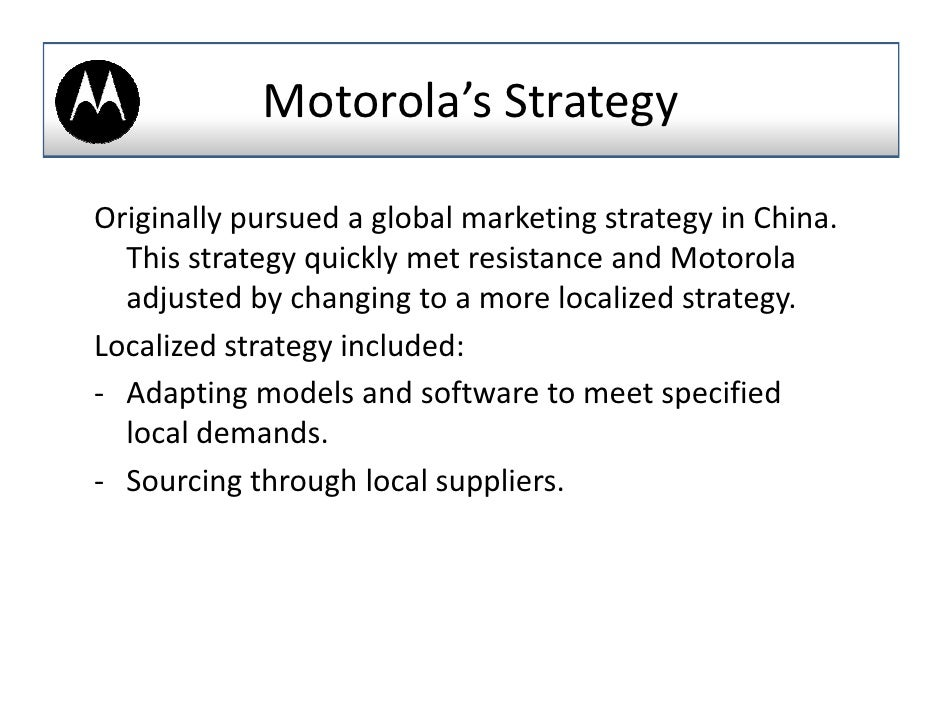motorola inc case study Motorola solutions case study matt feetterer the problem within its go-to-market structure, motorola solutions manages a global channel.
