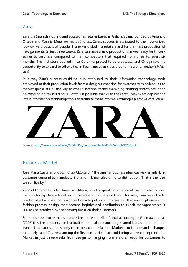 zara vertical integrated supply chain essay Zara: marketing in fast fashion zara was founded in 1975 by amancio ortega with its efficient supply-chain and integrated communications between points-of.