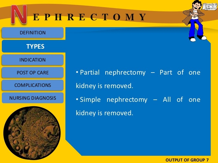 E P H R E C T O M Y   DEFINITION      TYPES   INDICATION  POST OP CARE      • Partial nephrectomy – Part of one COMPLICATI...
