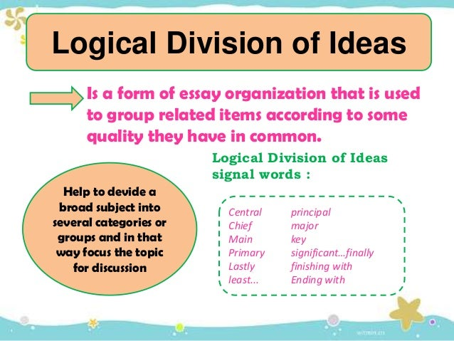 Logical orders for essay organization