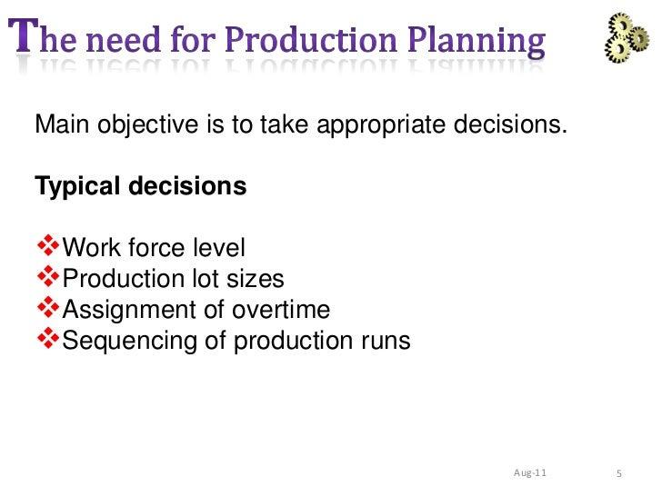 Planning control pdf production