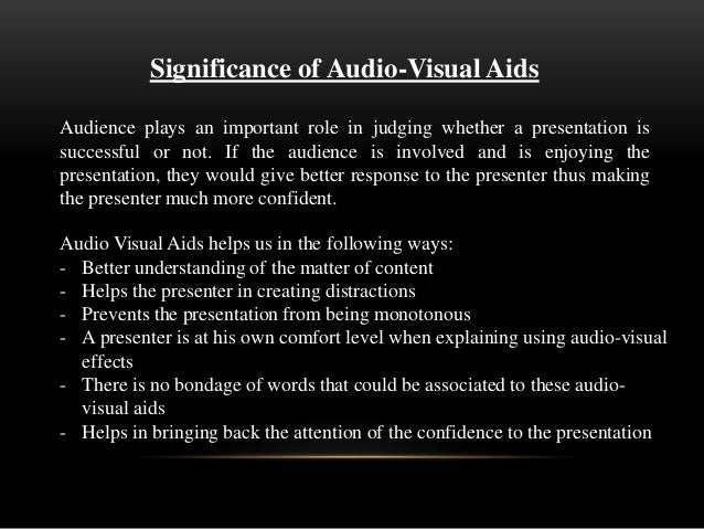 use of audio visual aids in presentation pdf