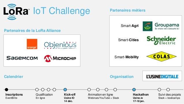 IoT Challenge Partenaires de la LoRa Alliance Kick-off Usine IO 14 déc. Hackathon Usine.io 17-18 jan. Animation en ligne W...
