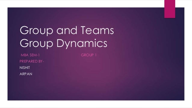 Group and Teams Group Dynamics MBA SEM-1 PREPARED BYNISHIT ARPAN  GROUP 1
