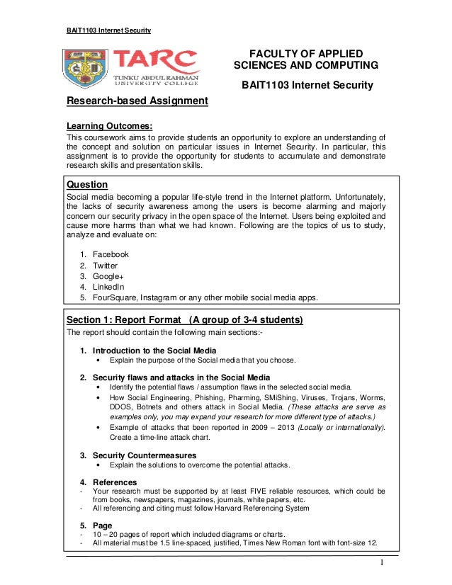 BAIT1103 Internet Security  FACULTY OF APPLIED SCIENCES AND COMPUTING BAIT1103 Internet Security Research-based Assignment...
