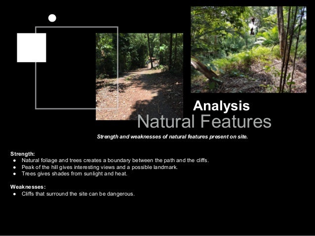 Analysis Natural Features Strength and weaknesses of natural features present on site. Strength: ● Natural foliage and tre...