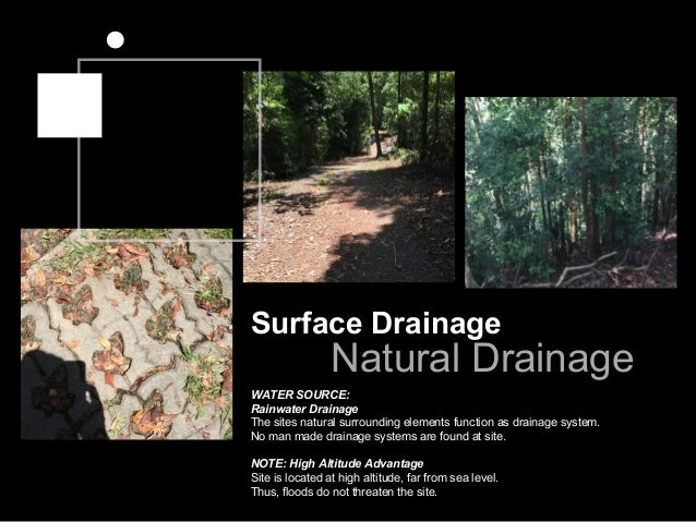 Surface Drainage Natural Drainage WATER SOURCE: Rainwater Drainage The sites natural surrounding elements function as drai...